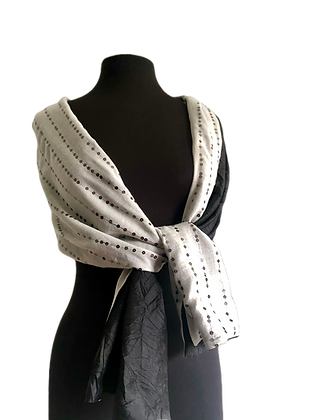 Classic Black and White Reversible Silk Shawl, Cream silk mesh with gunmetal sequins backed with black taffeta