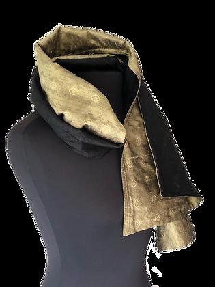 Silk Shawl - Reversible Black Taffeta & Gold Medallion Jacquard