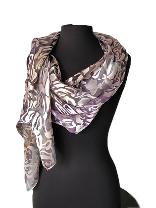 Hand painted silk devoré scarf or shawl, ombré tones of silvery grey, lilac and milk chocolate. Displayed on a dress form