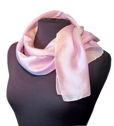 Pink Pearl Scarf palest pink hand painted silk scarf draped on a dressform