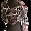 Semi-sheer Port Baroque Silk Chiffon Shawl tied to the side, port, black, talc white