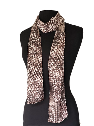 Silk Scarf - Knit Look Print Chiffon Scarf