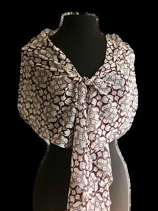 Lightweight Transparent Printed Silk Chiffon Maroon & Talc Mini Baroque Print Silk Chiffon Shawl