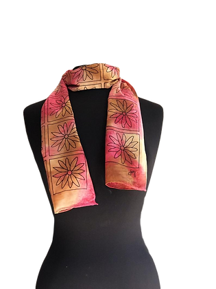Hand Painted Crepe de chine silk scarf ombré Moroccan palette of golden yellow, beige with an olive leaf graphic pattern