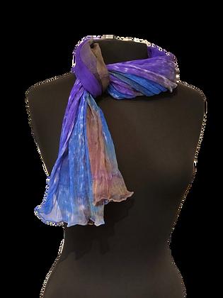 Silk Shawl - Royal Verdigris Crinkle Chiffon
