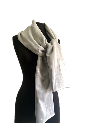 Classic Black and White Reversible Silk Shawl, Cream silk mesh with clear crystal sequins backed with black taffeta