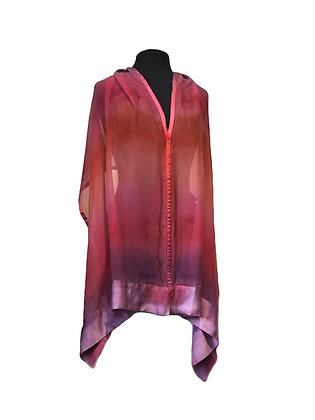 Silk Shawl - Rose Satin Trimmed Poncho