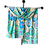 One of a kind hand painted silk shawl soft beige background hosts a colorful assortment of sapphire and emerald gems