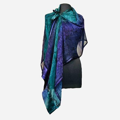 Silk Shawl - Iris Satin Trimmed Poncho