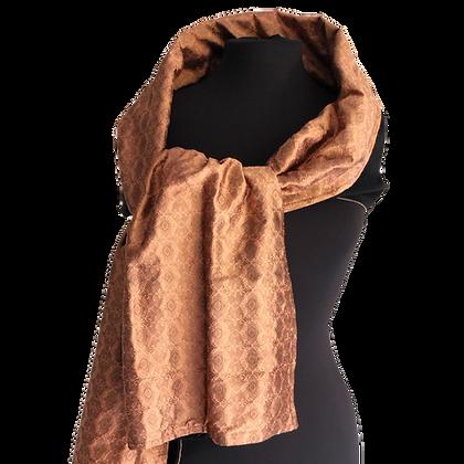Silk Shawl - Reversible Black Wool & Copper Medallion Jacquard