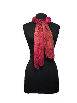 Silk Velvet Shawl - Cayenne Devoré Velvet