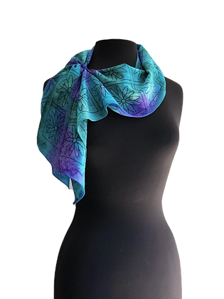 hand painted silk crepe de chine scarf  hand painted ocean colors of turquoise blue,  with graphic daisy print overlay