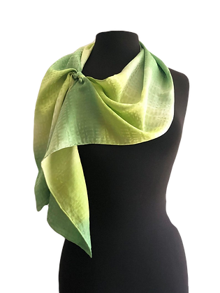 hand painted silk day scarf, basket weave jacquard silk Peridot Green Ombré