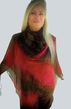 Model wearing Ember hand painted silk poncho, dark red and brown, sheer silk from the Fire Collection