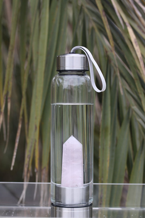 LOVE & STONES Rose Quartz Water Bottle