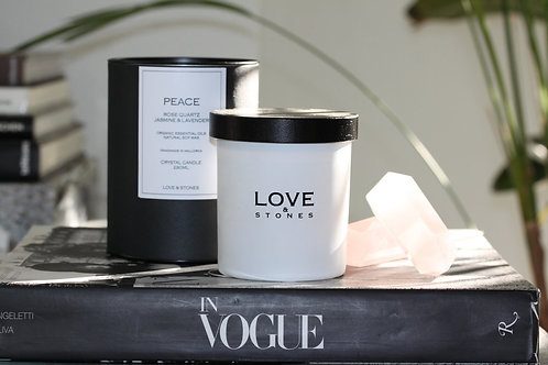 LOVE & STONES Organic Soy Candle PEACE