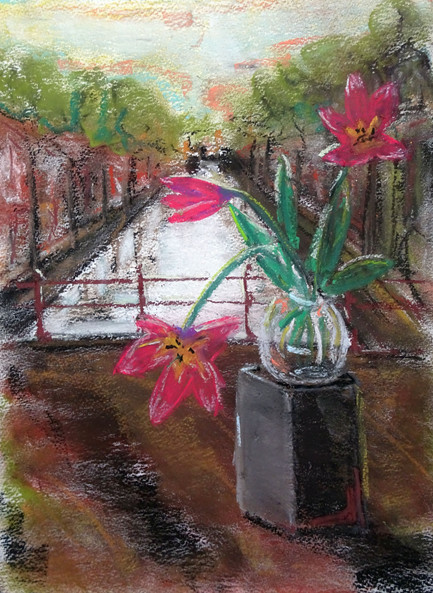 Tulips by the canal