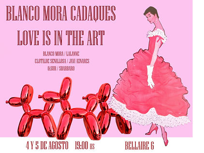 evento de moda y arte en cadaques, en la boutique blanco mora , llamado LOVE IS IN THE ART