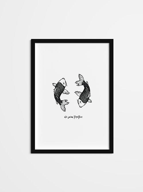 'We Swim Together Print'