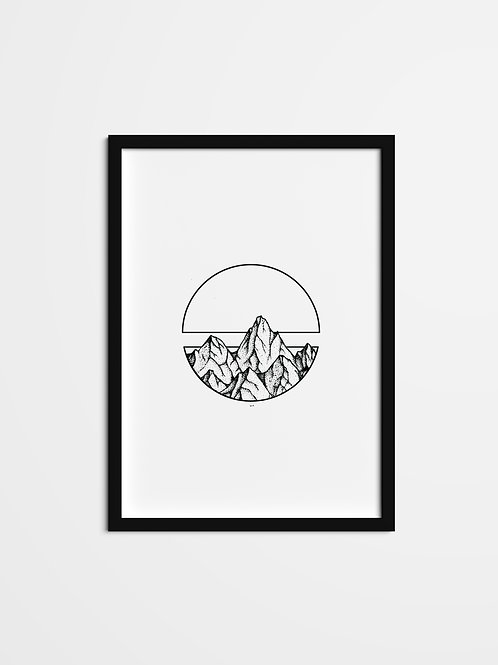 'Divided Mountain Print'