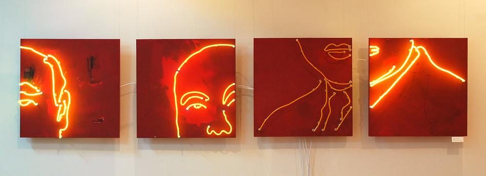 """""""Не он"""". 450x90 cm. Fiberboard, acrylic, neon tube."""