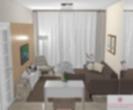 Mais uma vista da sala de estar com TV q