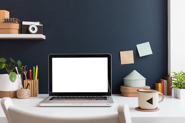 Home office with laptop stationery, cact