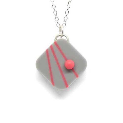 Dot Dash Square Pendant Grey/Pink