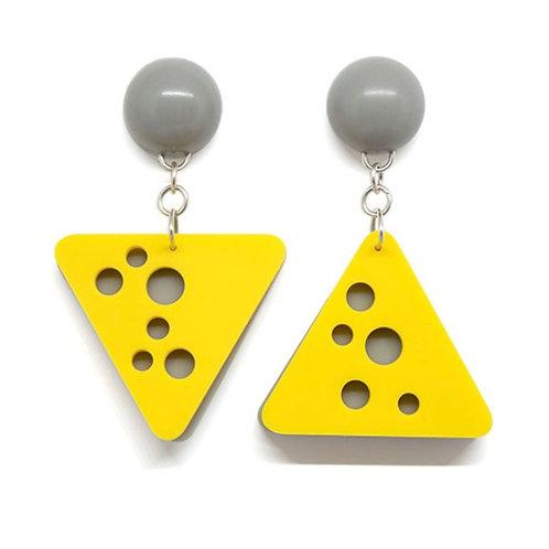 Hole Earrings Yellow/Grey