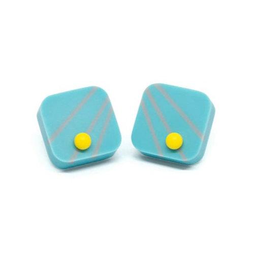 Dot Dash square studs Blue/Grey/Yellow