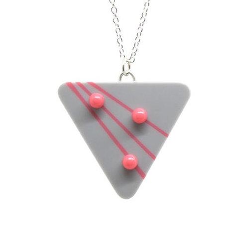 Dot Dash Large Triangle Pendant Grey/Pink