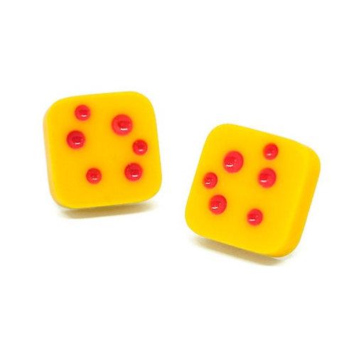 Dot Studs Yellow/Pink