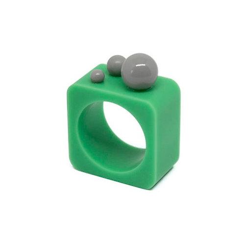 Dot Ring - Teal/Grey Square