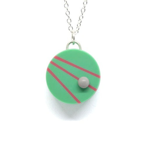 Dot Dash Pendant Teal/Pink/Grey