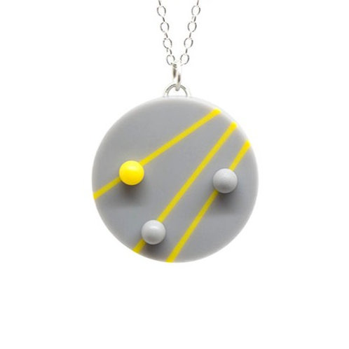 Dot Dash Large Circle Pendant Grey/Yellow