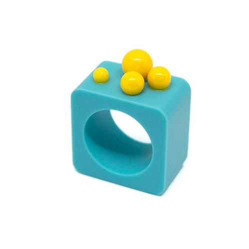 Dot Ring - Blue/Yellow Square