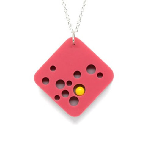 Hole Pendant Pink/Grey/Yellow