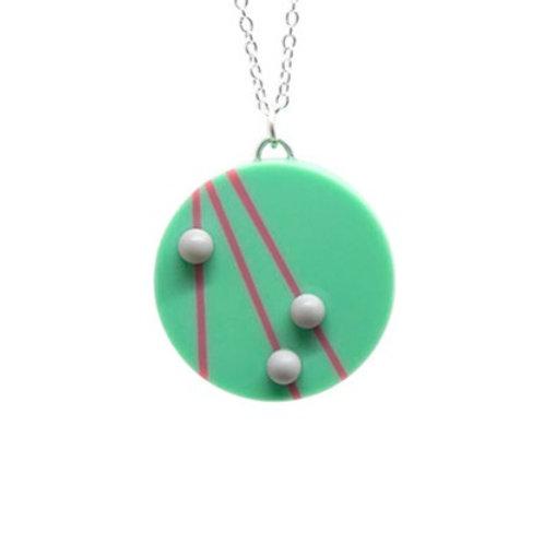 Dot Dash Large Circle Pendant Teal/Pink/Grey