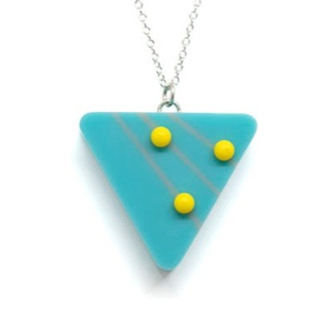 Dot Dash Large Triangle Pendant Blue/Grey/Yellow