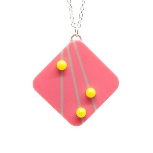 Dot Dash Large Square Pendant Pink/Grey/Yellow