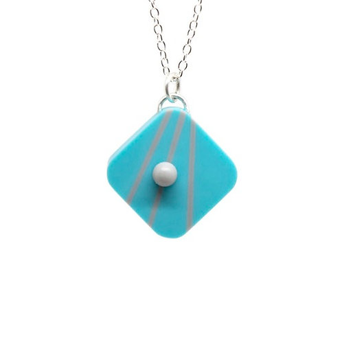 Dot Dash Square Pendant Blue/Grey
