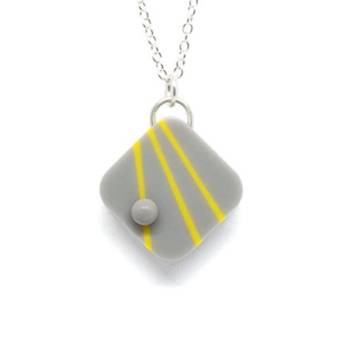 Dot Dash Square Pendant Grey/Yellow/Grey