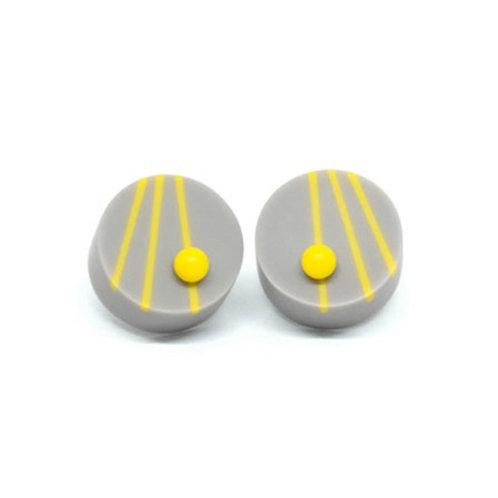 Dot Dash studs Grey/Yellow