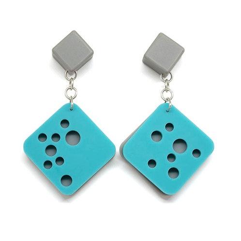 Hole Earrings Blue/Grey
