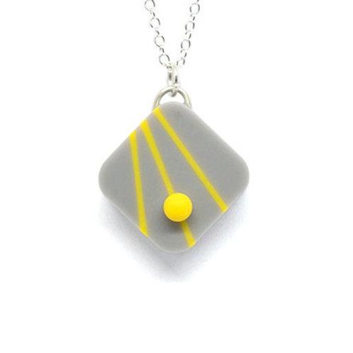Dot Dash Square Pendant Grey/Yellow