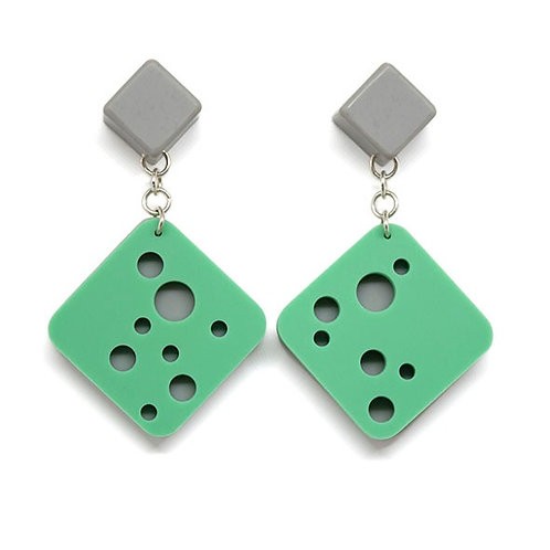 Hole Earrings Teal/Grey