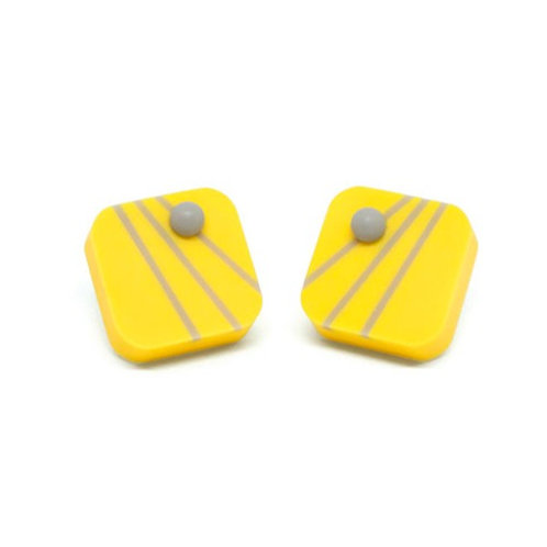 Dot Dash square studs Yellow/Grey