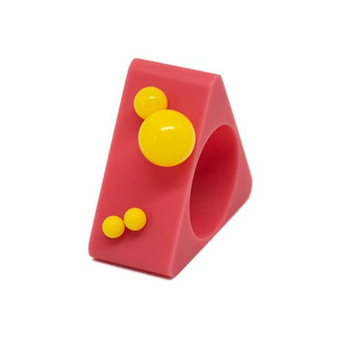 Dot Ring – Pink/Yellow Triangle