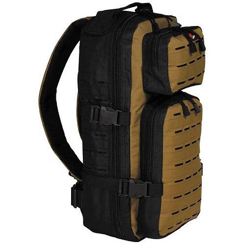Rucksack Assault-Travel Laser MFH Black-coyote Tan 20lt 30339R