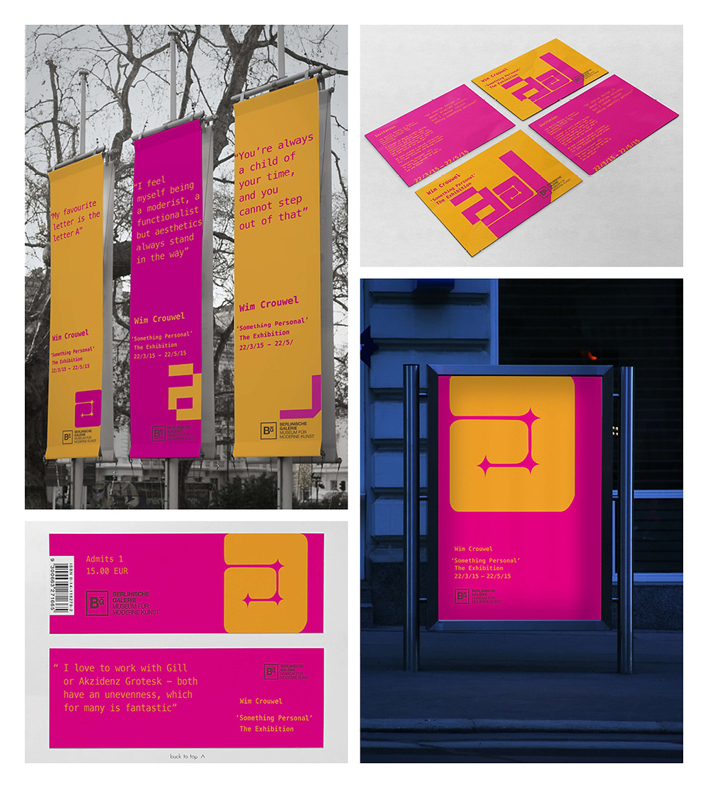 cross-platform design for an exhibition celebrating Wim Crouwel's work at The Berlin Museum of Modern Art